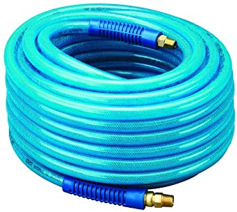 """Amflo 13-100E Blue 300 PSI Polyurethane Air Hose 3/8"""" x 100' With 3/8"""" MNPT Swivel Ends And Bend Restrictor Fittings"""