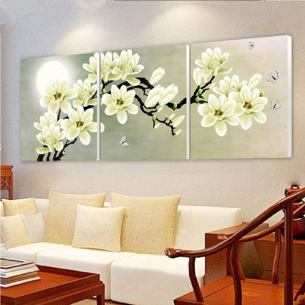 Mosaic Diamond Painting Triptych DIY Diamond Embroidery Drill Diamond Painting Wall Art Orchids Decoration Pictures On The Wall Sitting Room 3Pcs Crafts@Square_45X45Cm3Pcs by YANJUNHONG