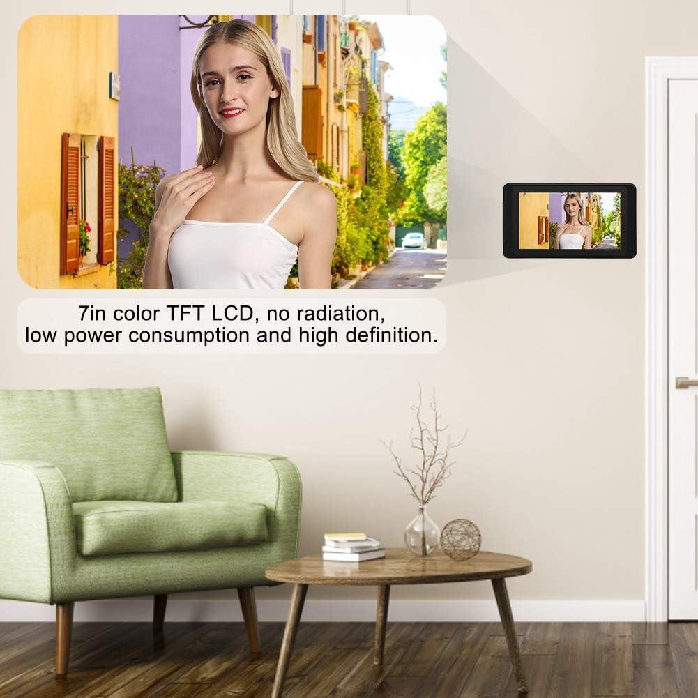 7 Pulgadas WiFi Video con Cable Videoportero Interfono Timbre IR Vista Nocturna Impermeable Digital Door Viewer 1 Enchufe de la UE Monitor para Interiores C/ámara para Exteriores con 2