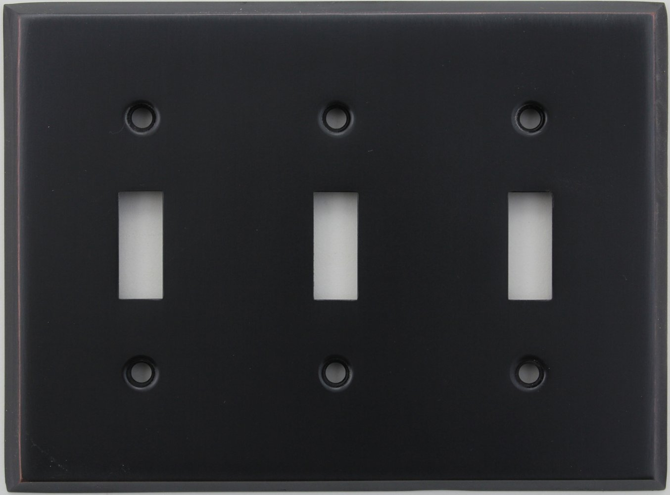 Classic Accents Stamped Steel Oil Rubbed Bronze Three Gang Toggle Light Switch Wall Plate
