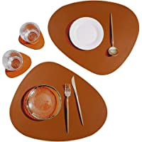 SUBEKYU Leather Placemat for Dining Table, No-Slip Waterproof Mats Set of 2, Heat-Resistant Washable Insulation Table…