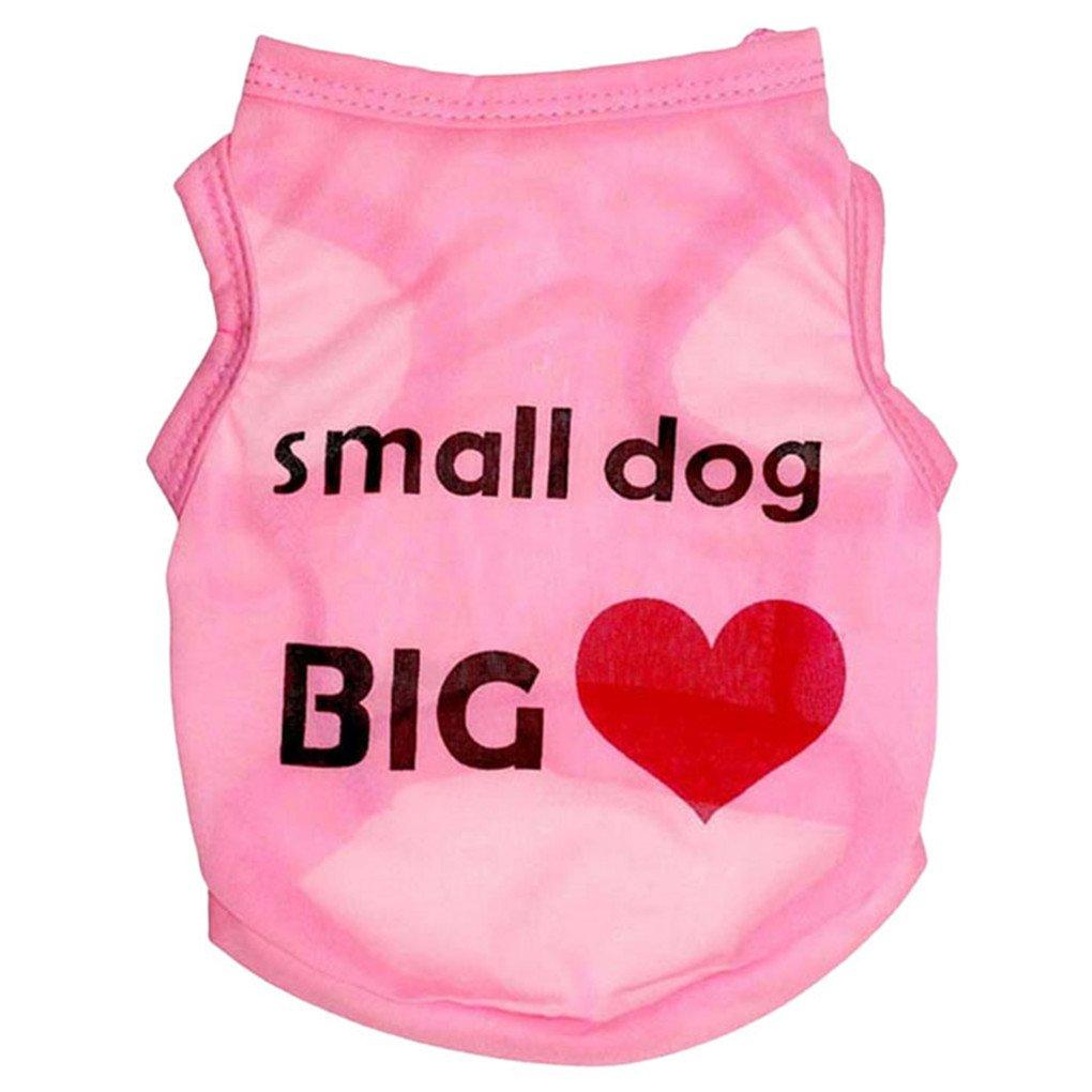 haoricu Pet Clothes, Summer Cool Dog Shirt Pet Clothing Pet Costume Small Pet Dog Cat Apparel T shirt (S, Pink) by haoricu (Image #1)