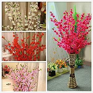 Geminilee Artificial Cherry Spring Plum Peach Blossom Branch Silk Flower Home Wedding Decorative Flowers Plastic Peach Bouquet 65cm,White 2