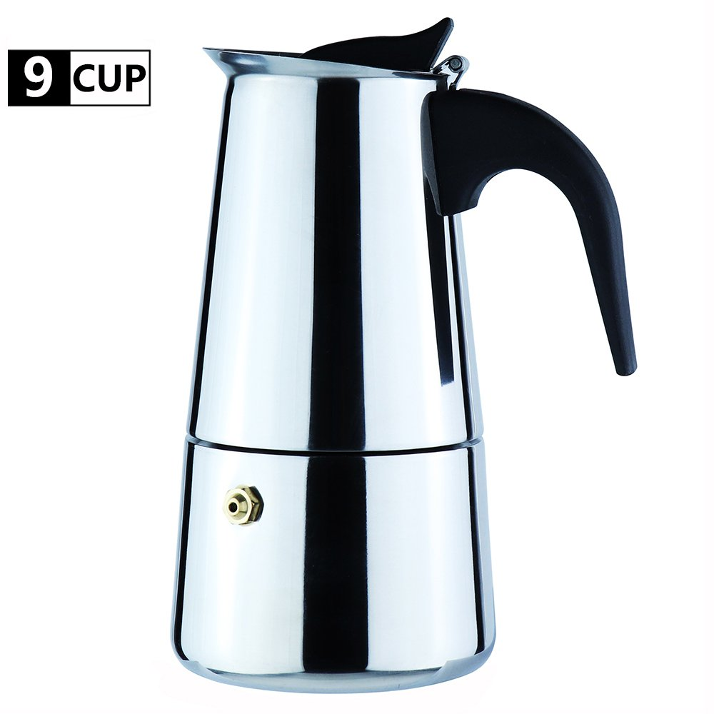 2-Cup Stovetop Espresso Moka Coffee Maker Pot - Best Polished Stainless Steel Coffee Percolator with Permanent Filter and Heat Resistant Handle - Ideal to Brew Coffee in Your Home Kitchen and Office WeHome SYNCHKG102979