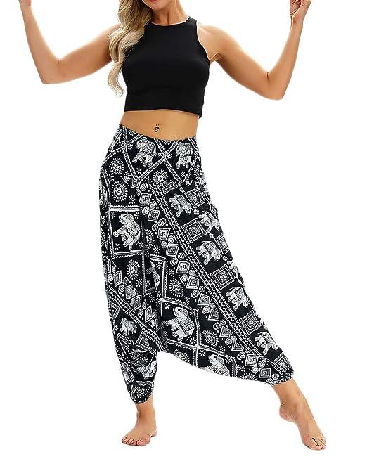 Mujer Pantalón Étnica Harén Baggy Boho Pant Aladdin Hippie ...