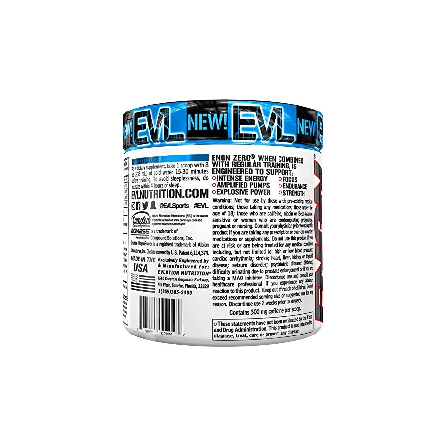Evlution Nutrition ENGN Shred Pre Workout Thermogenic Fat Burner Powder, Energy, Weight Loss, 30 Servings (ENGN Zero)