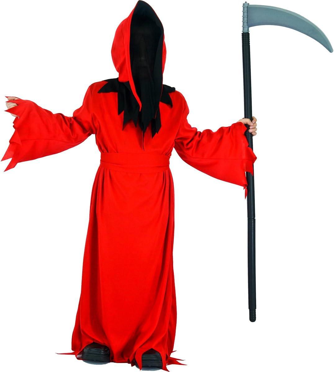 SEA HARE Disfraz de Halloween de Túnica de Demonio Rojo para Niño (S:4-6 años)