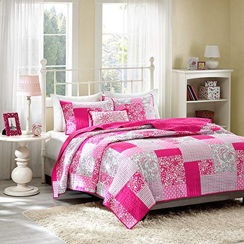 Mi-Zone Abbey Twin/Twin XL Girls Quilt Bedding Set - Hot Pink, Pieced Floral, Polka Dot, Paisley – 3 Piece Teen Girl Bedding Quilt Coverlets – Ultra Soft Microfiber Bed Quilts Quilted Coverlet