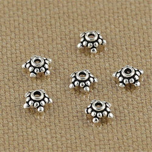Luoyi Thai Silver Bead Flower Caps, 5-petal, Wide: 6mm (Thai Sterling Silver Flower)