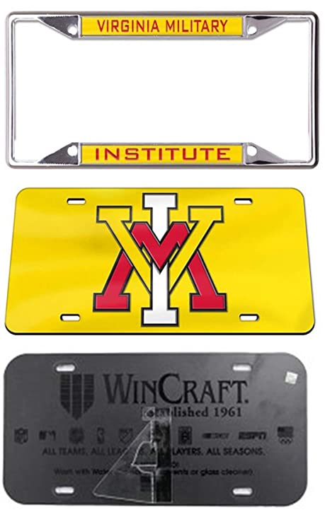 Wincraft Virginia Military Insititute Premium License Plate Frame Chrome with Hand Inlaid Acrylic