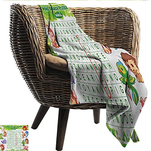 Davishouse Word Search Puzzle Home Throw Blanket Educational Game for Kids Children Cute Sweet Animals Worksheet Print All Season Premium Bed Blanket 70