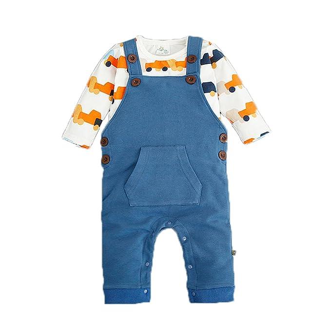 Bebone Mameluco Pelele Bebé Niños Niñas 2piezas Conjuntos Camiseta Manga Larga Pantalón Largo (Azul,