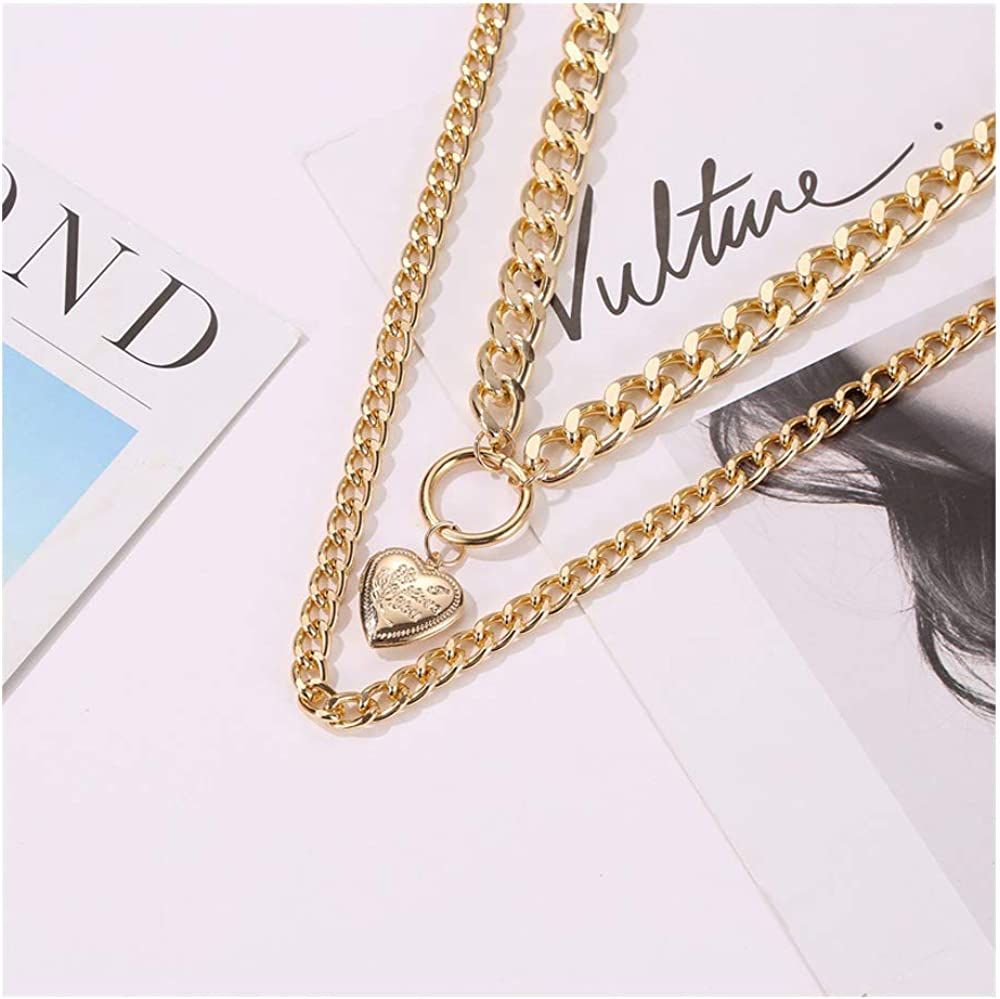 Acxico 1Pcs Punk Love Heart Pendant Choker Chunky Necklace Heart Circle Necklace Double Layer Chain for Women Girls
