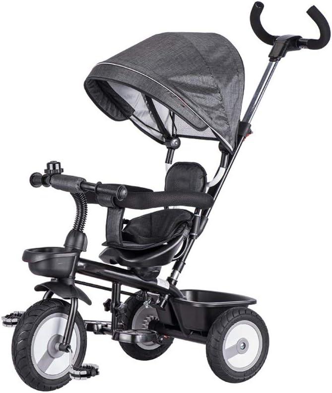 LRHD Triciclo for niños, 4-en-1 del triciclo del bebé de la compra, Apto durante 10 meses a 6 años Walker, con asa regulable de empuje, Techo desmontable, pedal retráctil, Pedal bloqueable