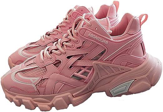 WL para Mujer Zapatillas De Deporte Casuales De Malla Zapatos Que Caminan Formadores Ligera Gimnasia Atletismo Atlética De Choque De Aire Zapatillas De Absorción,Rosado,35: Amazon.es: Jardín