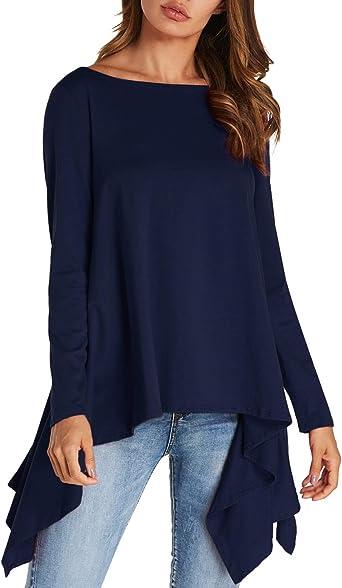 kenoce Blusa de manga larga para mujer, estilo casual, suelta, cuello redondo, con volantes, irregular, dobladillo alto, bajo, maxi vestido