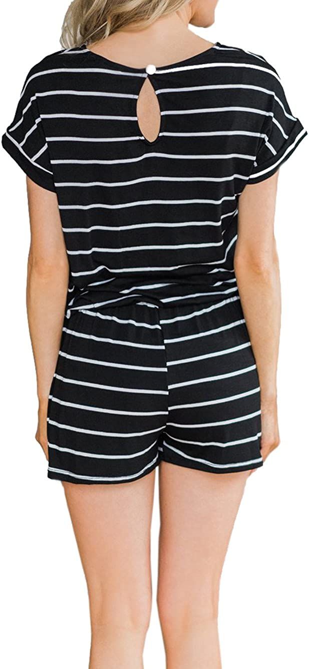 Famulily Womens Summer Short Sleeve Loose Striped Romper and Jumpsuit Shorts