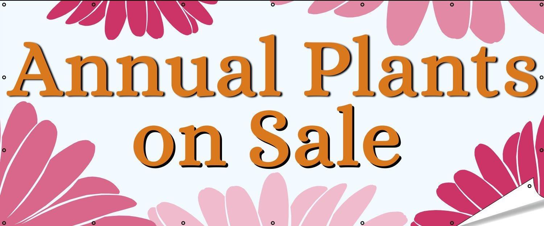 GoBigBanners Annual Plants on Sale Banner Pink and Orange 10x4
