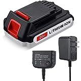 3.0Ah LBX20 for Black and Decker 20V Battery & Charger 20 Volt MAX Lithium Ion LBXR20 LB20 LBXR2020-OPE LBXR20B-2 LB2X4020-2