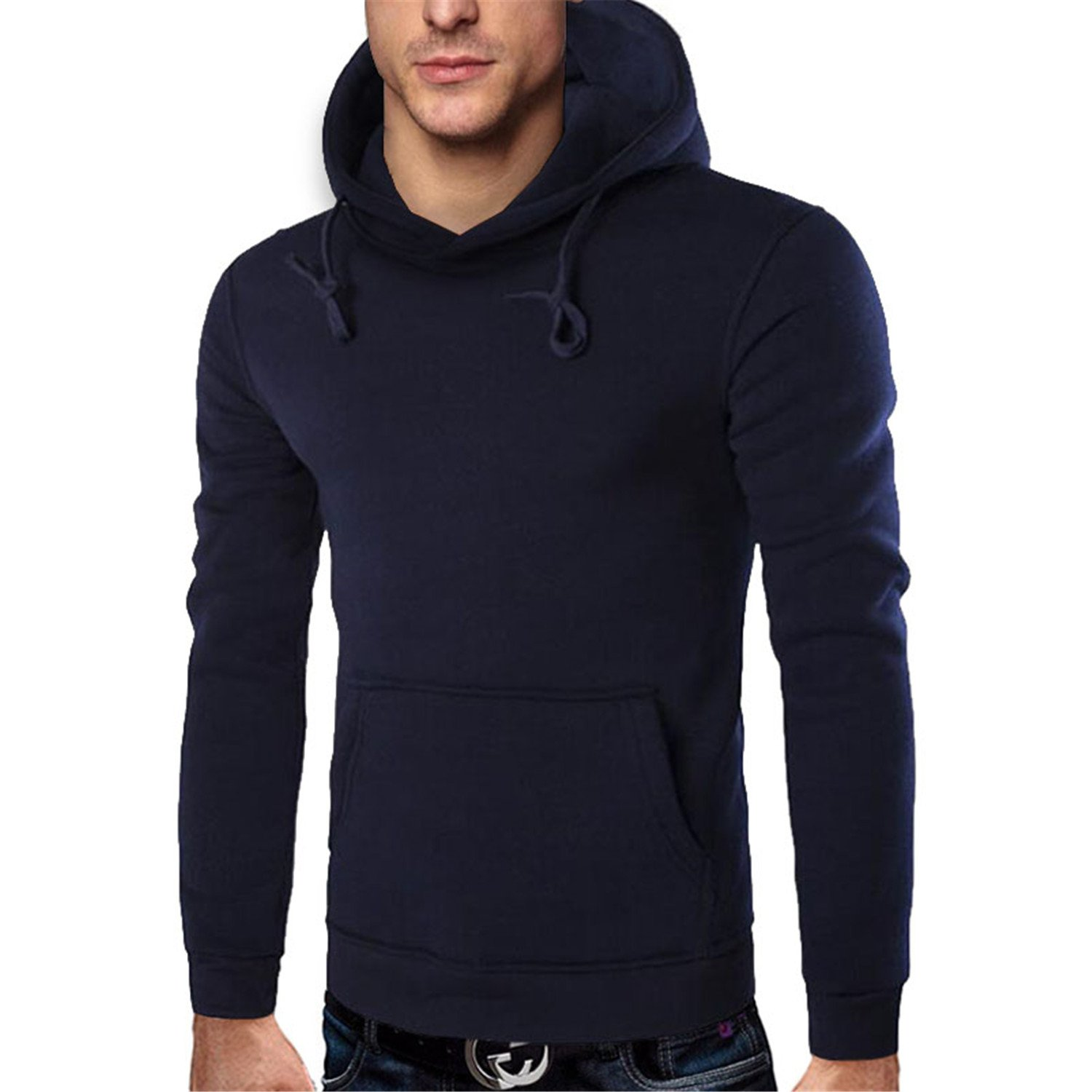 AHAJASPER Stylish Mens Brand Solid Color Lapel Pullover Hoodie Sweatshirt Slim Fit Men Hoody 4XL black M