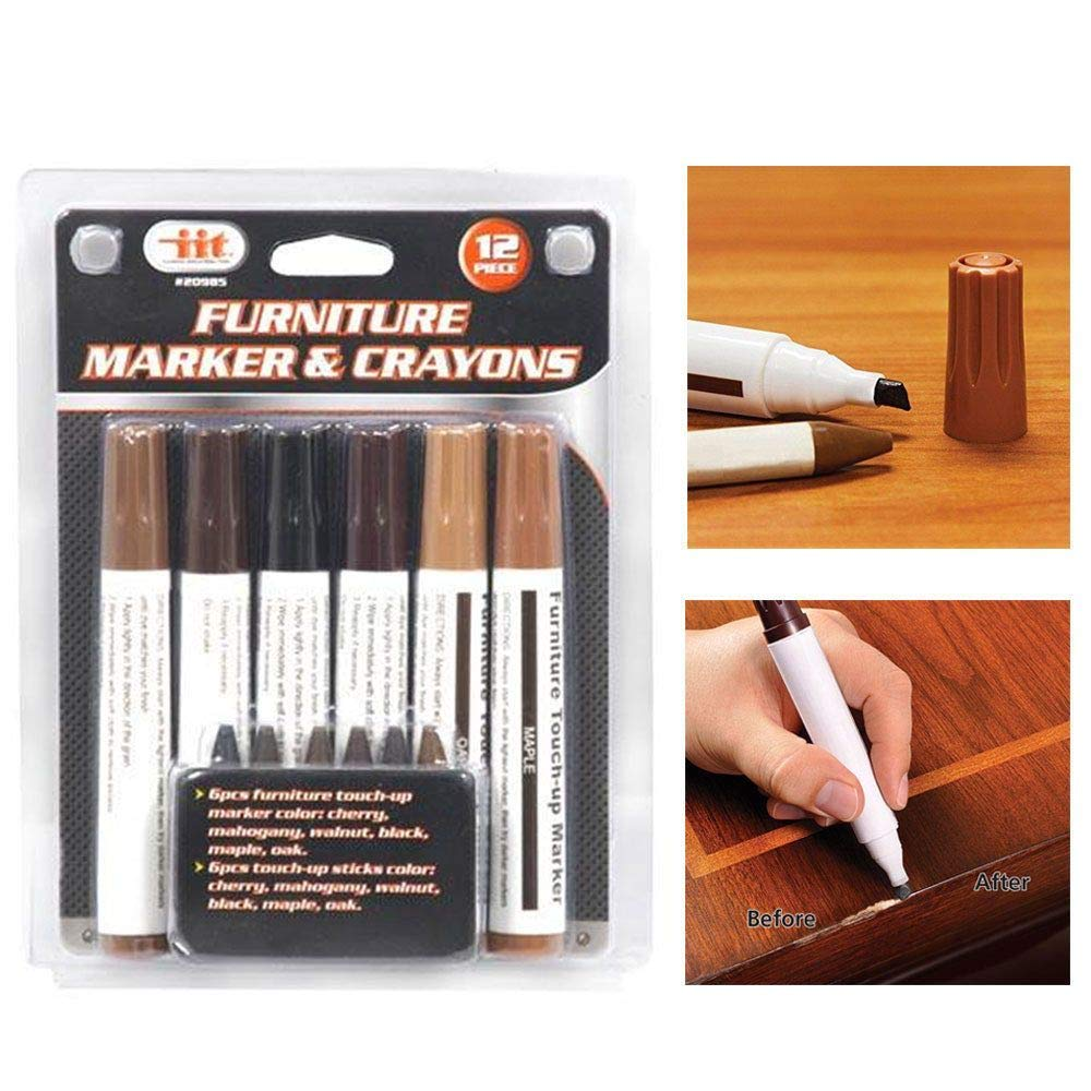 12 Pc Furniture Marker Crayons Repair Kit Wood Touch Up Scratch Filler Remover