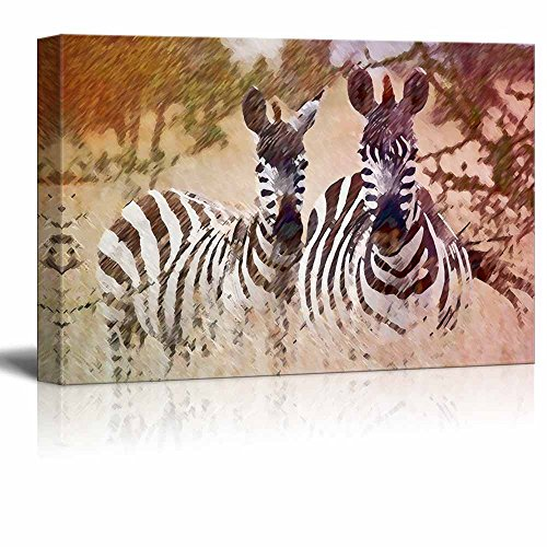 Wall26 Animal Theme Canvas Wall Art - Two Zebras on the African Savanna - Giclee Print Gallery Wrap | Modern Home Decor Stretched & Ready to Hang - 16x24 inches