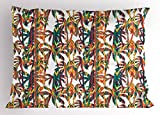 Lunarable Tropical Pillow Sham, Artistic Colorful Design Palm Trees Summertime in the Hawaii Jungle Theme Leaves, Decorative Standard King Size Printed Pillowcase, 36 X 20 Inches, Multicolor