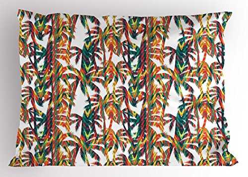 Lunarable Tropical Pillow Sham, Artistic Colorful Design Palm Trees Summertime in the Hawaii Jungle Theme Leaves, Decorative Standard King Size Printed Pillowcase, 36 X 20 Inches, Multicolor by Lunarable