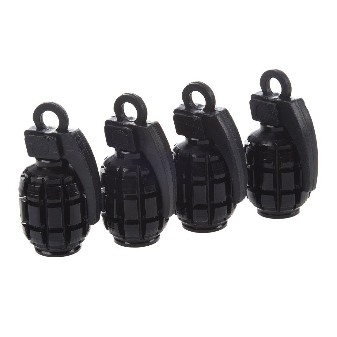 TOOGOO(R) 4 Pcs Metal Plastic Pure Black Grenade Shape Car Tire Valve Cap