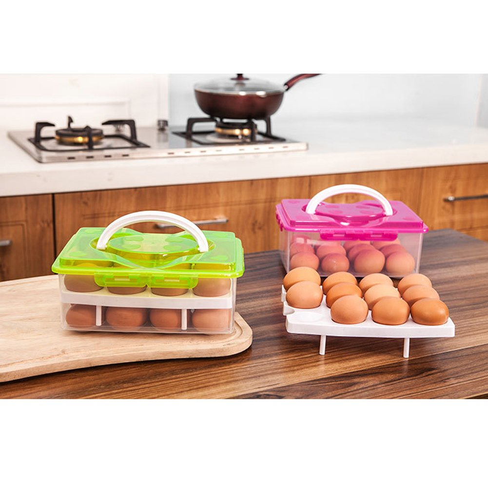 DELIFUR 2 Tiers Egg Container Deviled Egg Carrier Eggs Holder with Handle Fridge Freezer Storage(Red)