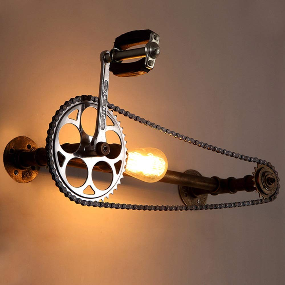 ZONA Elegent E27 Industrial Retro Wind Gear Chain Hose Wrought Iron Material Wall Lamp Pedal Chain Can Rotate 10-15 Square Meters Cozy by ZONA