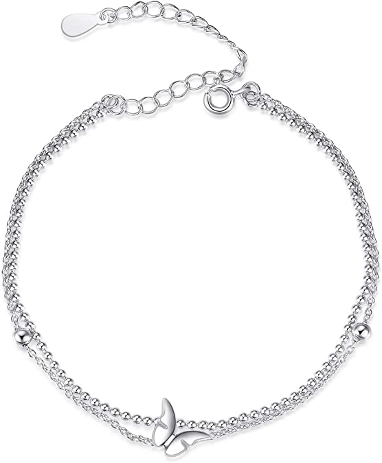 butterflies dangle charms anklet 925 sterling silver satellite chain with sliding beads silver butterfly anklet