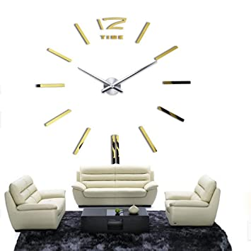 Amazonde Kolylong Luxus Design Wanduhr Zum Aufkleben 3d
