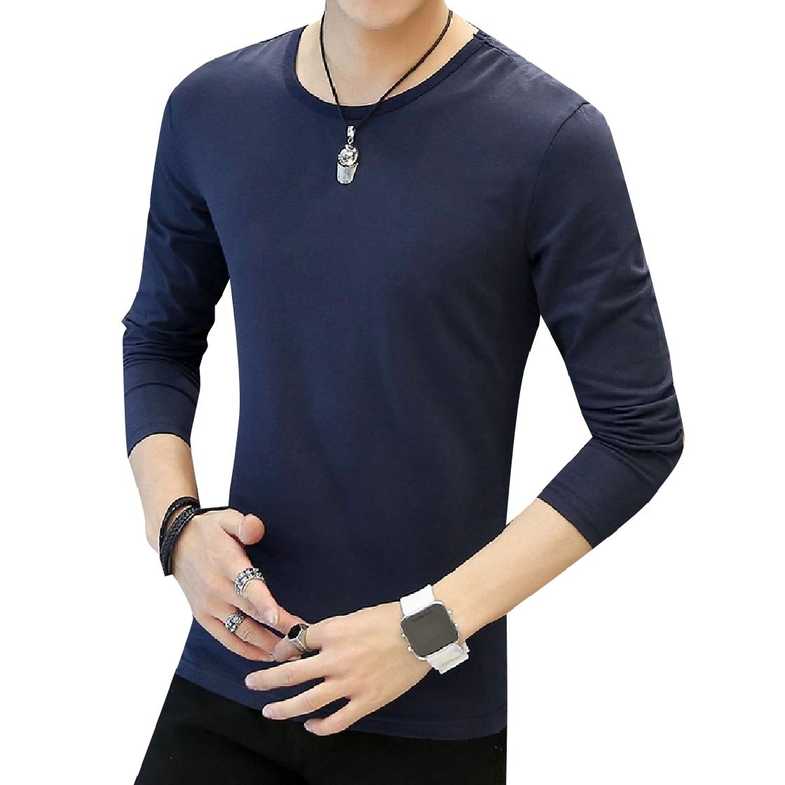 DressU Mens Pure Colour Pullover Oversize Crew Neck Top Tees Polo