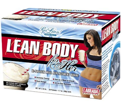 Body Labrada Nutrition Lean For Her Salut-Protein Agiter le substitut de repas, de vanille, 49 grammes d'