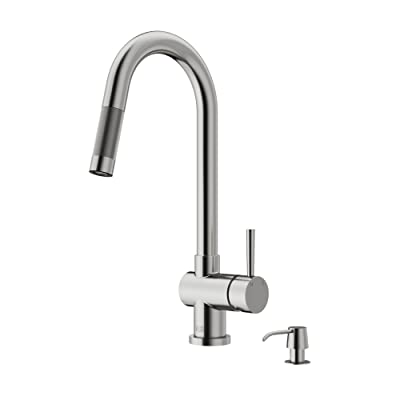 VIGO Gramercy Single Handle Pull-Down Kitchen Faucet with Soap Dispenser, Stainless Steel