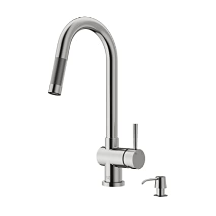 VIGO Gramercy Single Handle Pull Down Kitchen Faucet With Soap Dispenser, Stainless  Steel