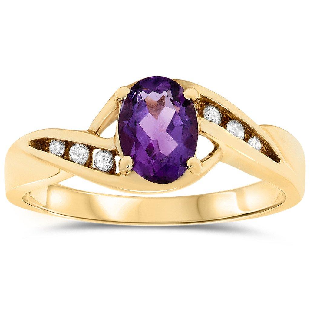10k Yellow Gold Oval Purple Amethyst Gemstone and Diamond Promise Ring, Birthstone of February