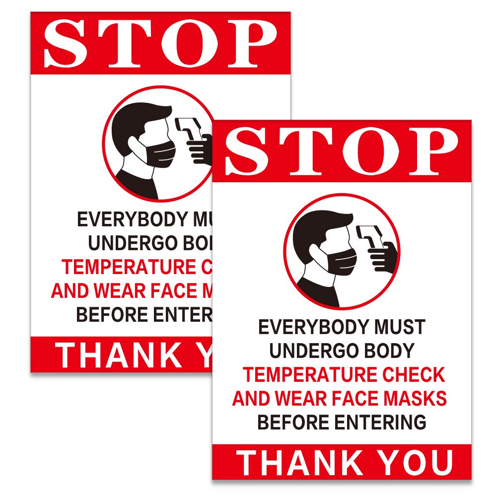 """SICOHOME Temperature Check Sign, 2pcs Temperature Check Required Decal,7""""x 9.8"""" Stop Body Temperature Check Required Prior to Entering Sign"""