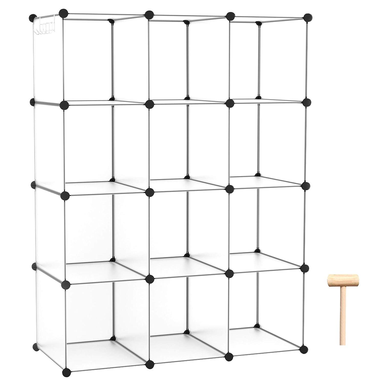 "C&AHOME Cube Storage, 12-Cube Shelves Organizer Unit, DIY Bookshelf, Plastic Closet Cabinet, Modular Bookcase Ideal for Bedroom, Living Room, Office, 36.6""L x 12.4"" W x 48.4"" H Translucent White"