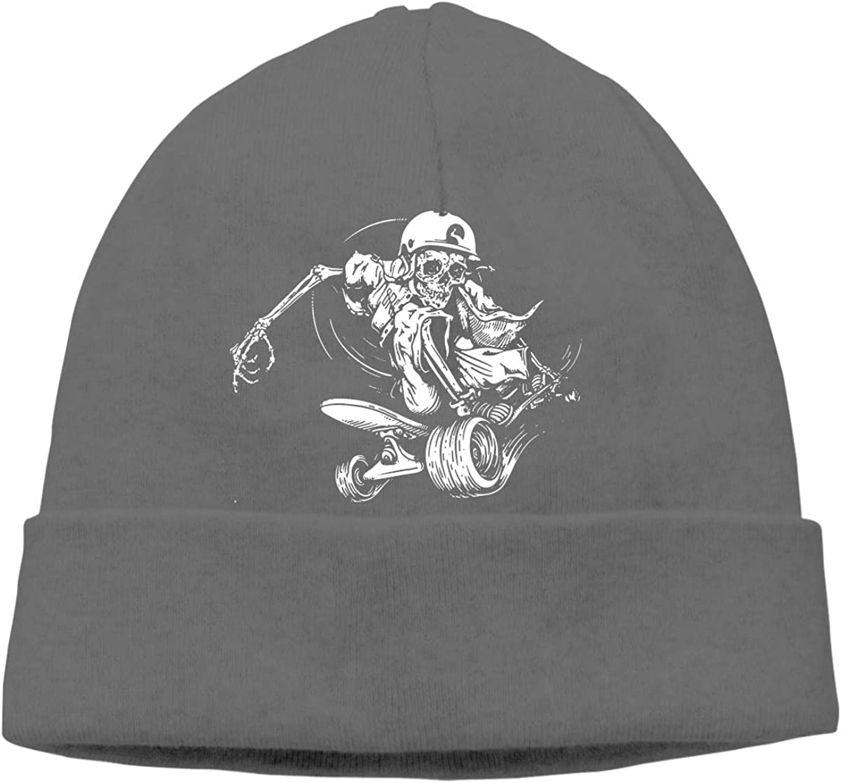 Art Skull Skateboarding Unisex Cuffed Plain Skull Knitted Hat Beanie Cap Men Women Black