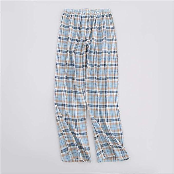 Spring 100/% Cotton Plaid Sleep Bottoms Men Comfort Casual Male Sleepwear Trousers Sheer Pajamas Pants,Pz,L
