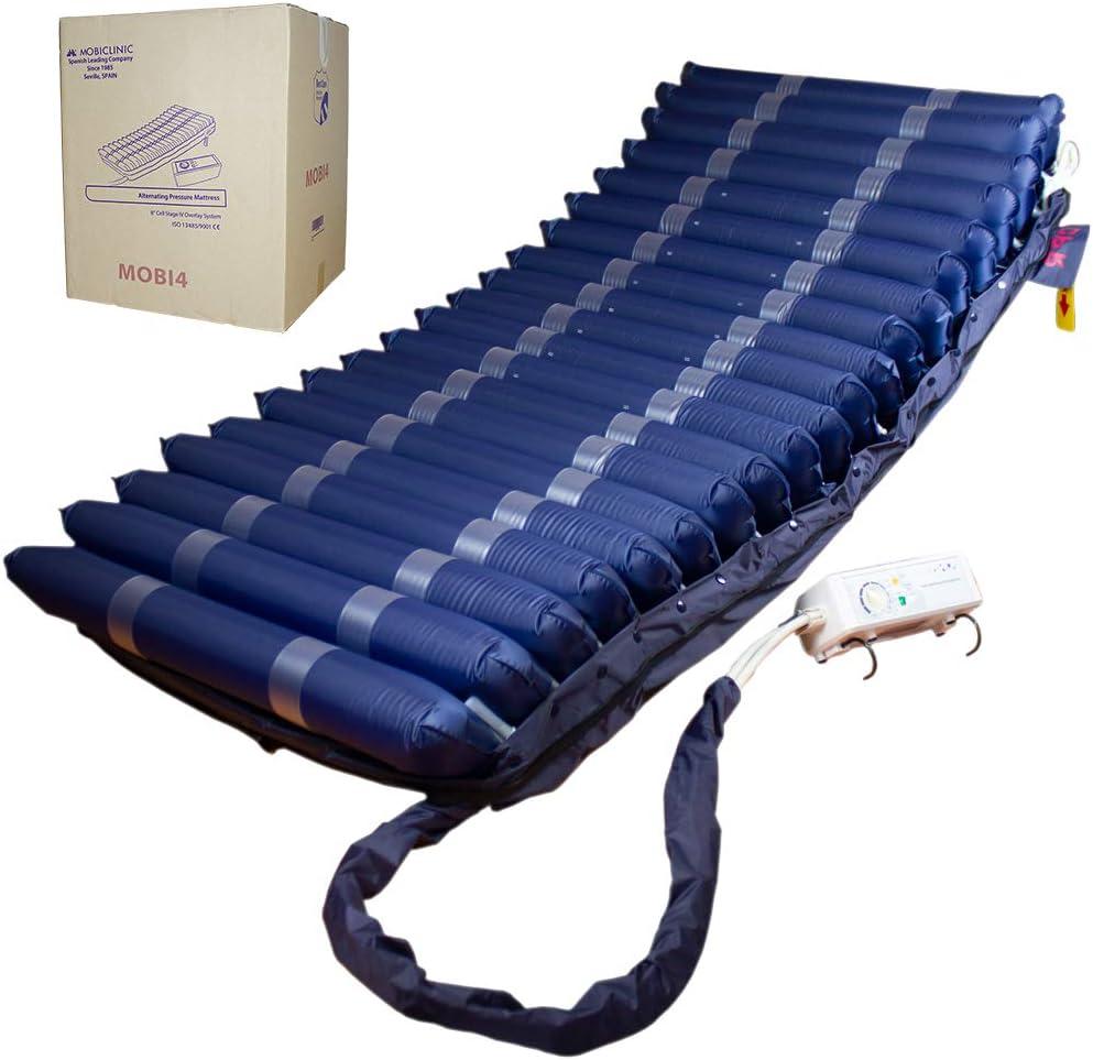 Mobiclinic, Mobi 4, Colchón antiescaras con motor compresor, de aire alternante, para escaras de grado I, II, III y IV, 20 celdas de aire, TPU Nylon, 200 x 90 x22, 20 celdas, color Azul