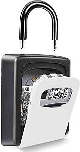 Portable Security Key Lock Box for House Key, Waterproof Key Safe Box for Lever Handle Door Knob & Wall Mount, Key Combo Door Locker, 4-digit Combination Code Realtors Lockbox with Shackle (Grey)