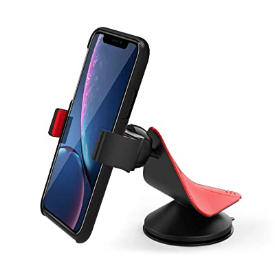 Arteck Universal Mobile Phone Car Mount Holder 360° Rotation for Auto Windshield, for Cell Phones Apple iPhone 6s Plus 5s, Samsung Galaxy S7 Edge S6 Note 5/4 GPS and Others Red