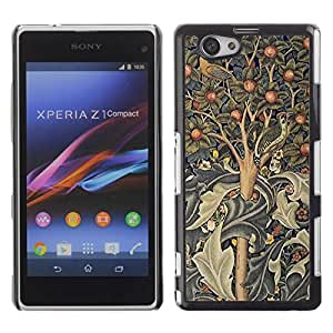 Be Good Phone Accessory // Dura Cáscara cubierta Protectora Caso Carcasa Funda de Protección para Sony Xperia Z1 Compact D5503 // Tree Art Indian Painting Abstract