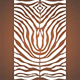 "zebra stencils for painting walls - Zebra Print Stencil - (size 14""w x 21.5""h) Reusable Wall Stencils for Painting - Best Quality African Zebra Print Decor Ideas - Use on Walls, Floors, Fabrics, Glass, Wood, and More…"