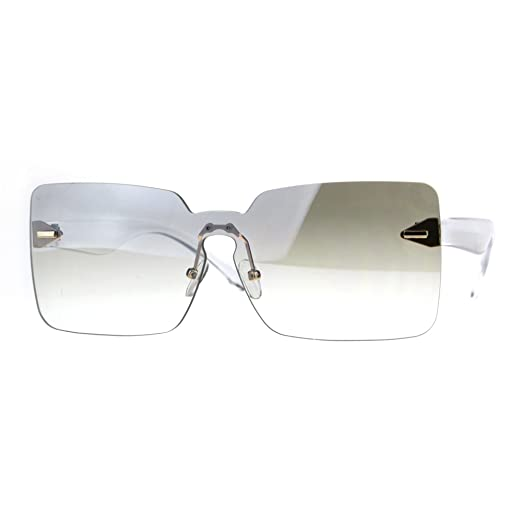 b4381a34afd Womens Mod Flat Panel Shield Rectangular Oversize Retro Sunglasses Clear