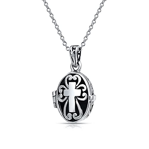 62a93826cd51 Cruz Colgante medallón oval Keepsake comunión Regalo Collar de plata  esterlina 925 oxidada con cadena  Amazon.es  Joyería