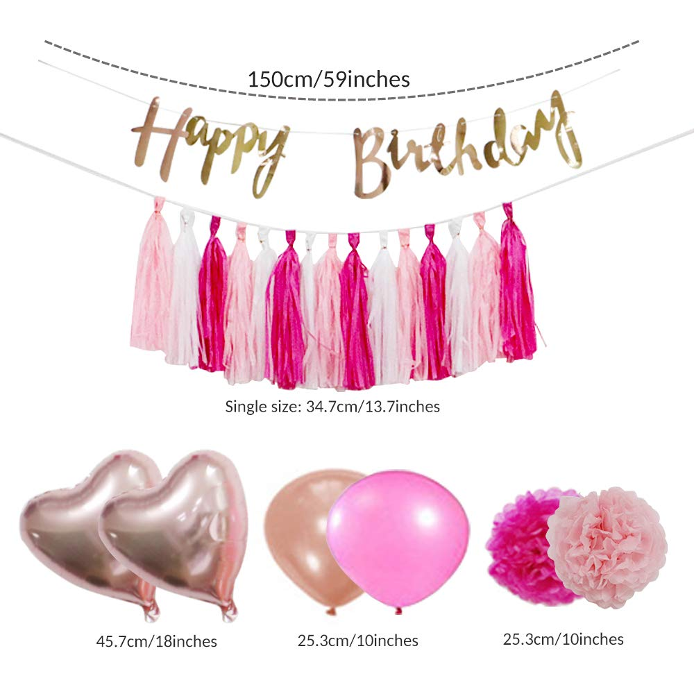 VCOSTORE Pink and Gold Party Decorations Kit 45 Pcs for Girls, DIY Wedding & Birthday & Baby Shower Supplies Set with Paper Pom Poms Flowers & Tassel Garland, Balloons, Birthday Banners and Ribbon by VCOSTORE (Image #3)